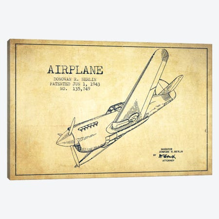 Plane Vintage Patent Blueprint Canvas Print #ADP2344} by Aged Pixel Canvas Wall Art