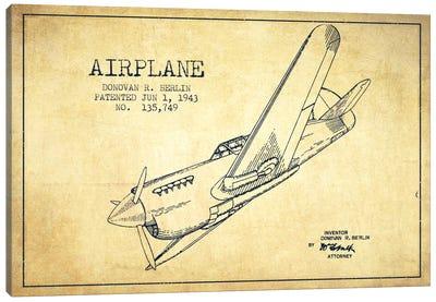 Plane Vintage Patent Blueprint Canvas Print #ADP2344