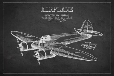 Plane charcoal patent blueprint canvas wall art by aged pixel icanvas canvas malvernweather Gallery