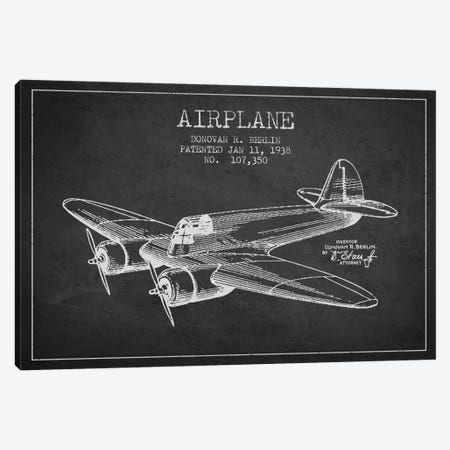 Plane Charcoal Patent Blueprint Canvas Print #ADP2345} by Aged Pixel Canvas Wall Art