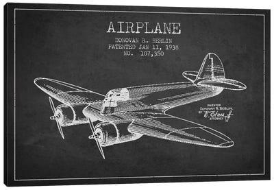 Plane Charcoal Patent Blueprint Canvas Art Print