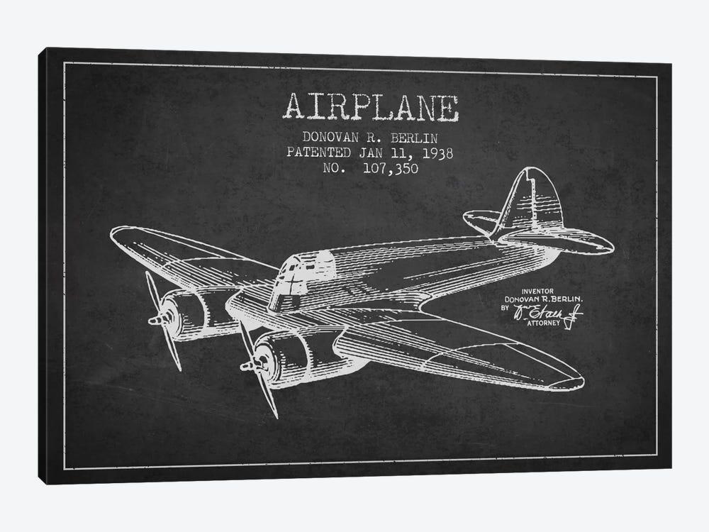 Plane Charcoal Patent Blueprint by Aged Pixel 1-piece Canvas Print