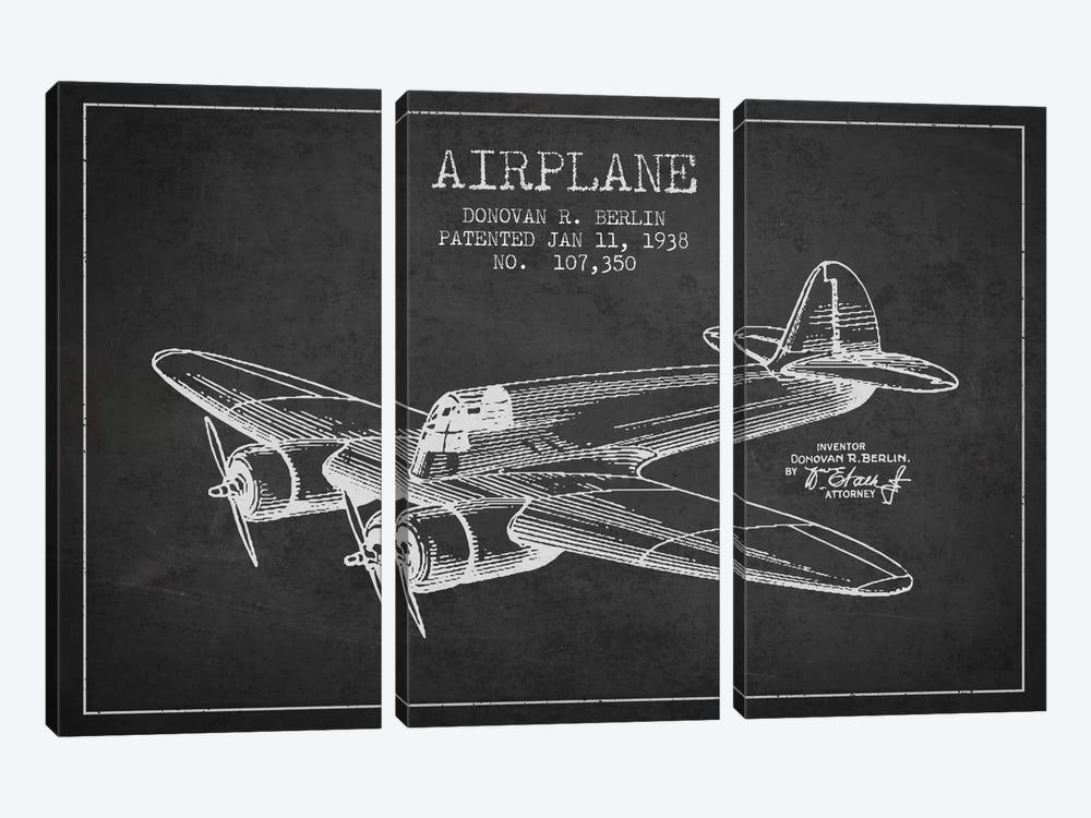 Plane Charcoal Patent Blueprint by Aged Pixel 3-piece Art Print