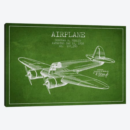 Plane Green Patent Blueprint Canvas Print #ADP2346} by Aged Pixel Canvas Artwork