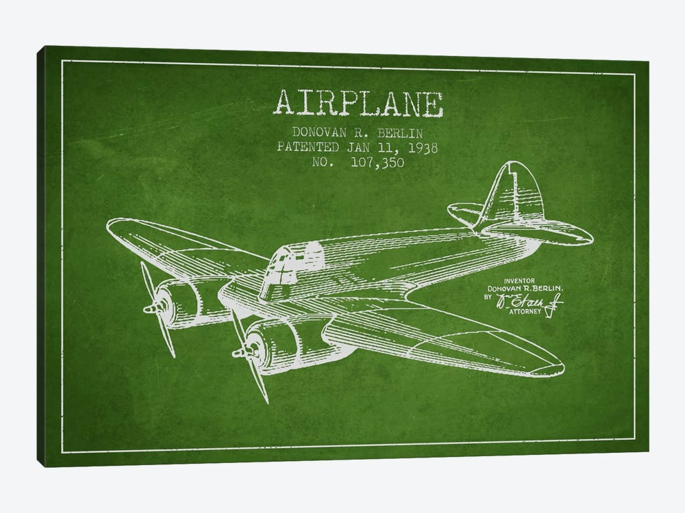 Plane Green Patent Blueprint by Aged Pixel 1-piece Canvas Art