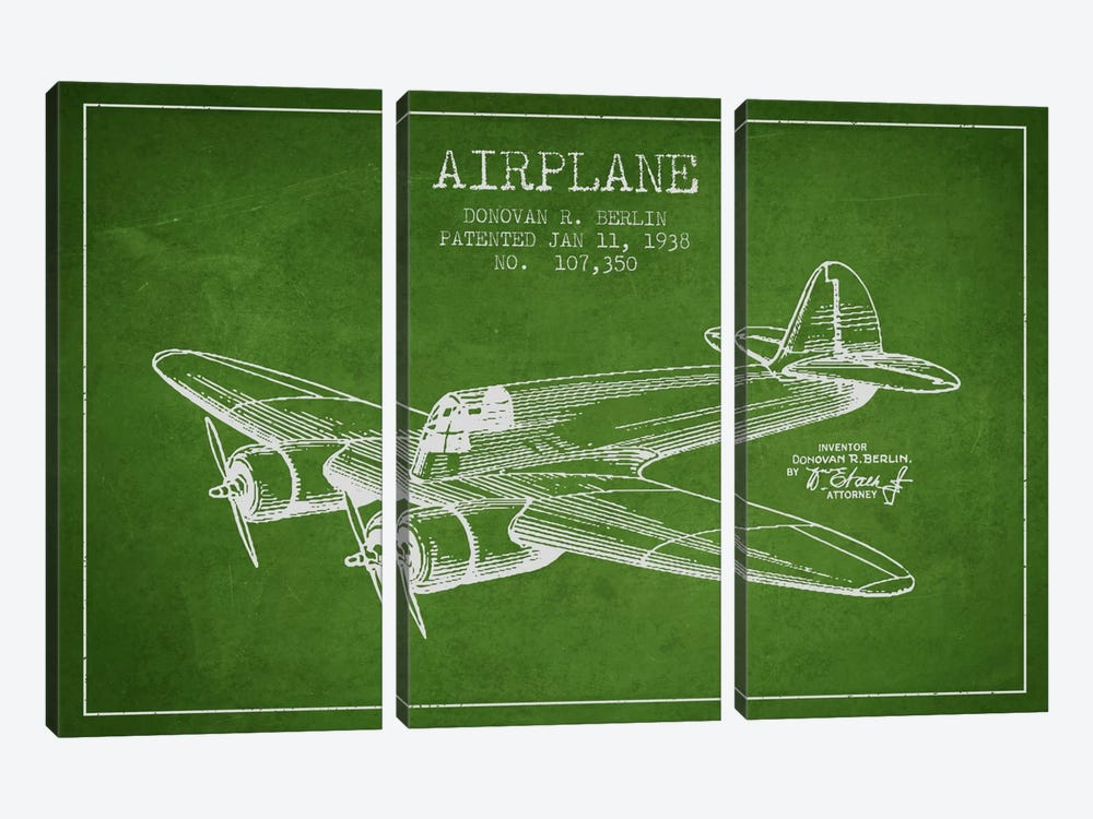 Plane Green Patent Blueprint by Aged Pixel 3-piece Canvas Artwork