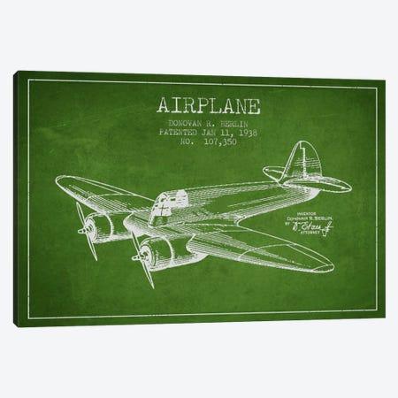 Plane Green Patent Blueprint Canvas Print #ADP2346} by Aged Pixel Canvas Artwork