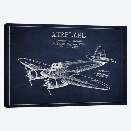 Plane Navy Blue Patent Blueprint Canvas Print #ADP2347} by Aged Pixel Canvas Wall Art
