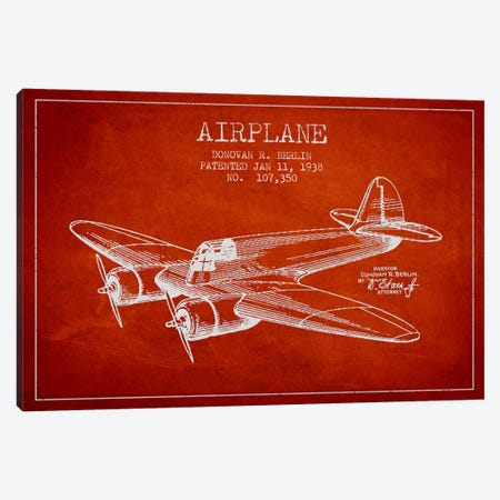 Plane Red Patent Blueprint Canvas Print #ADP2348} by Aged Pixel Art Print