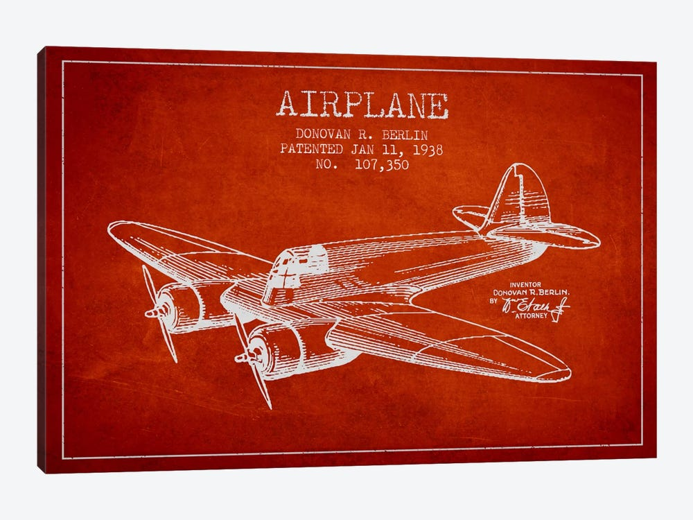 Plane Red Patent Blueprint by Aged Pixel 1-piece Canvas Wall Art