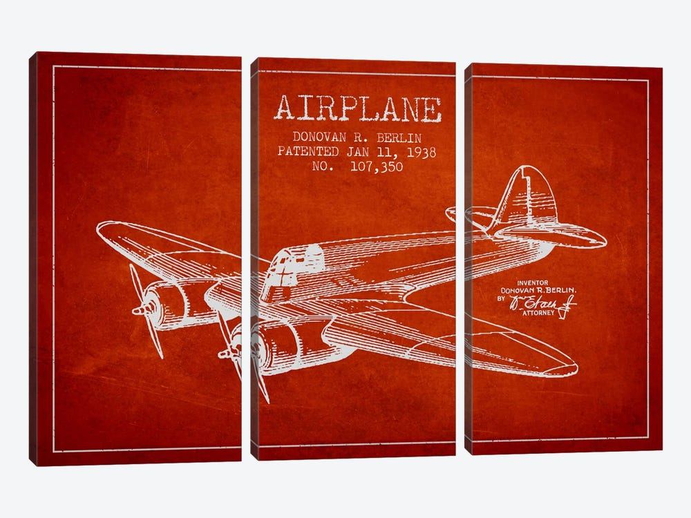 Plane Red Patent Blueprint by Aged Pixel 3-piece Canvas Art