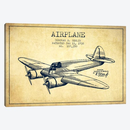Plane Vintage Patent Blueprint Canvas Print #ADP2349} by Aged Pixel Canvas Print
