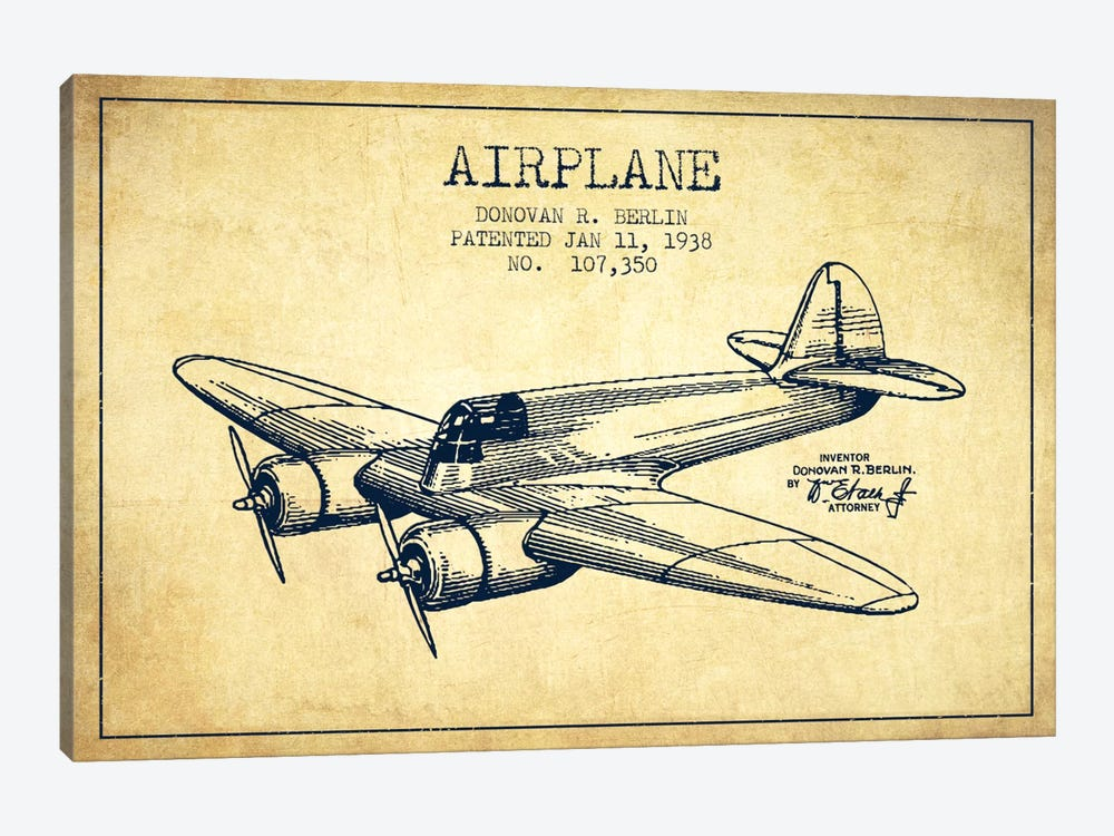 Plane Vintage Patent Blueprint by Aged Pixel 1-piece Canvas Print