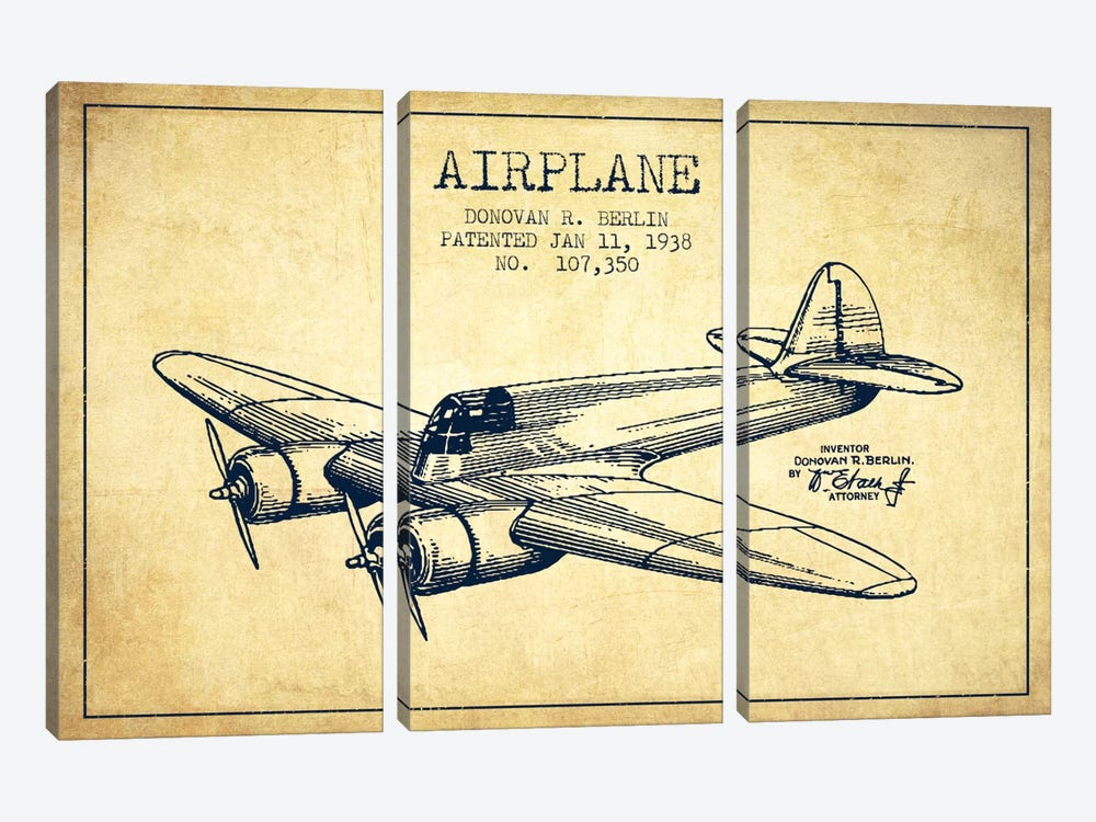 Plane Vintage Patent Blueprint by Aged Pixel 3-piece Canvas Art Print