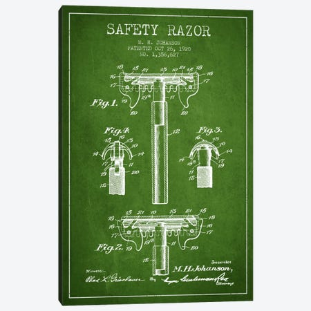 Razor Green Patent Blueprint Canvas Print #ADP234} by Aged Pixel Art Print