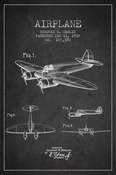 Plane charcoal patent blueprint canvas art print by aged pixel icanvas canvas malvernweather Images