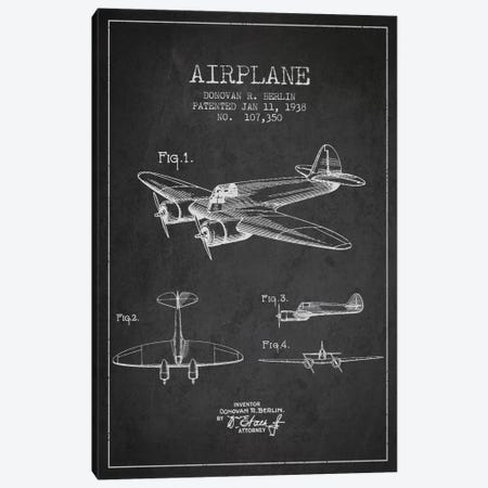 Plane Charcoal Patent Blueprint Canvas Print #ADP2350} by Aged Pixel Canvas Art
