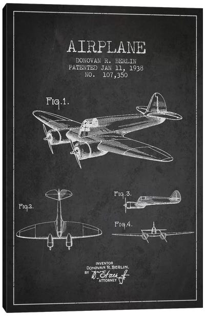 Plane Charcoal Patent Blueprint Canvas Print #ADP2350
