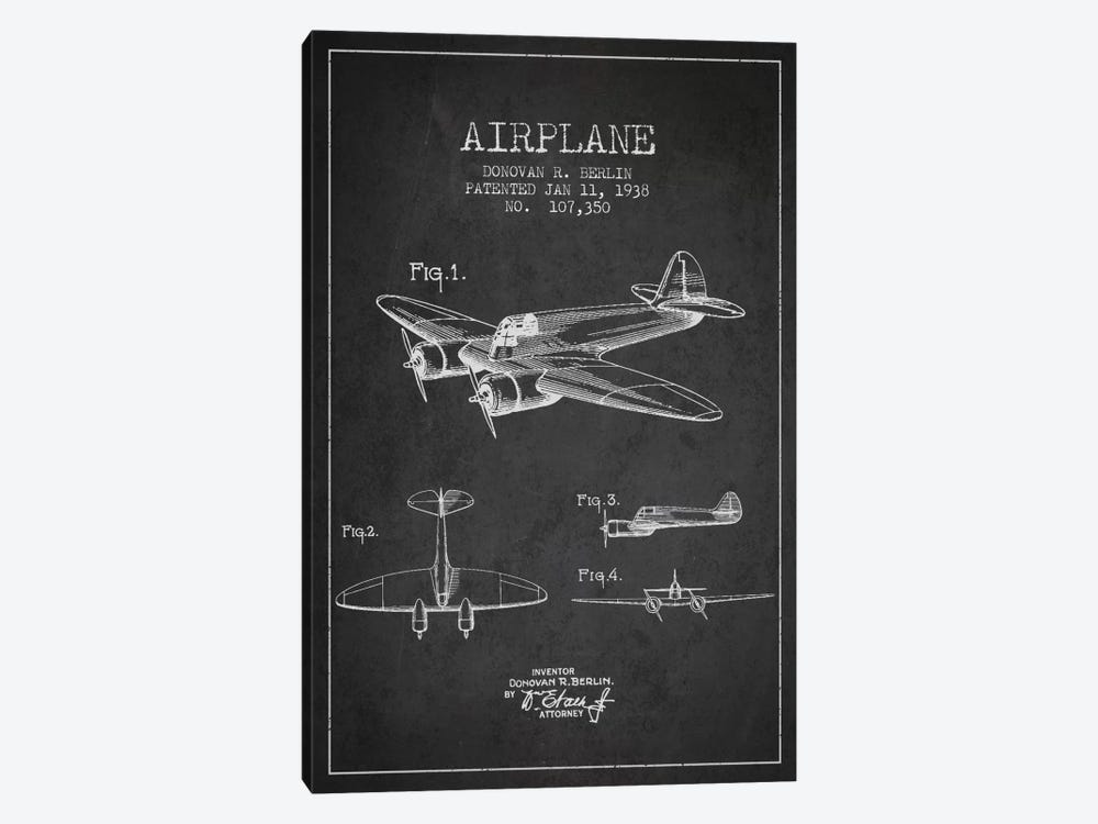 Plane Charcoal Patent Blueprint by Aged Pixel 1-piece Canvas Art Print