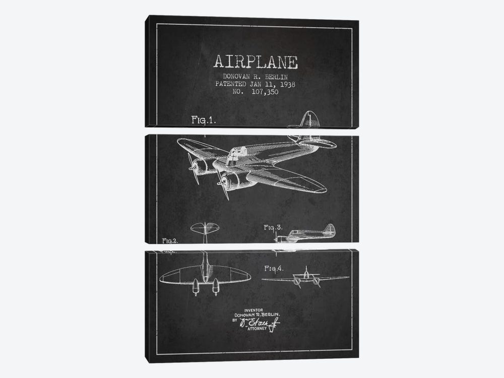 Plane Charcoal Patent Blueprint by Aged Pixel 3-piece Canvas Art Print