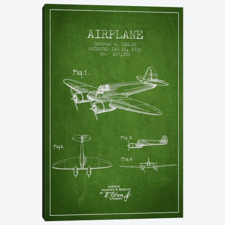 Plane Green Patent Blueprint Canvas Print #ADP2351} by Aged Pixel Canvas Art