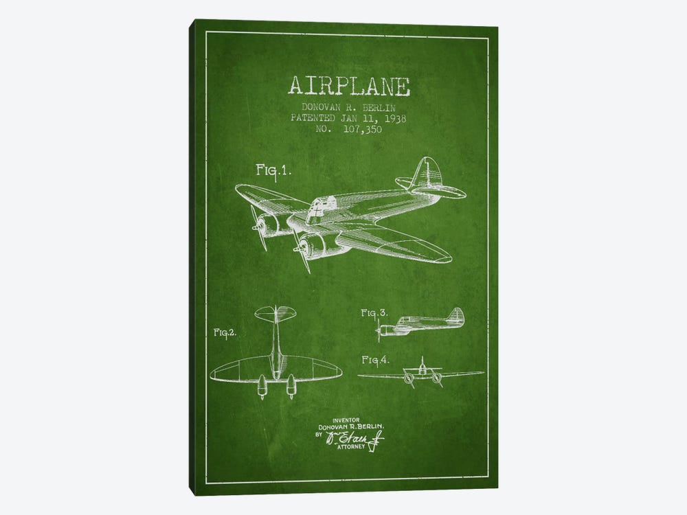 Plane Green Patent Blueprint by Aged Pixel 1-piece Canvas Wall Art