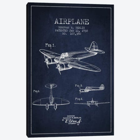 Plane Navy Blue Patent Blueprint Canvas Print #ADP2352} by Aged Pixel Canvas Wall Art