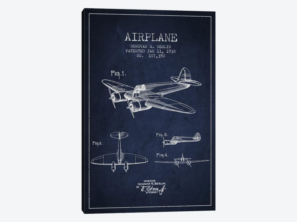 Plane Navy Blue Patent Blueprint by Aged Pixel 1-piece Canvas Print