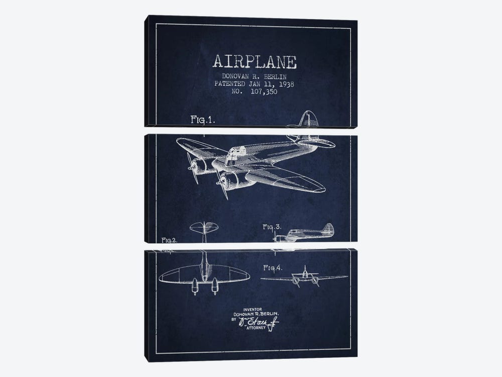 Plane Navy Blue Patent Blueprint by Aged Pixel 3-piece Canvas Print