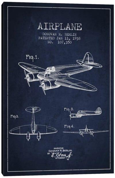 Plane Navy Blue Patent Blueprint Canvas Art Print
