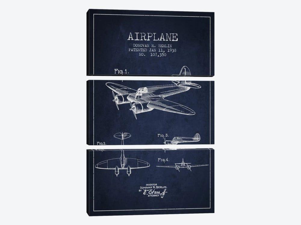 Plane Navy Blue Patent Blueprint by Aged Pixel 3-piece Canvas Print