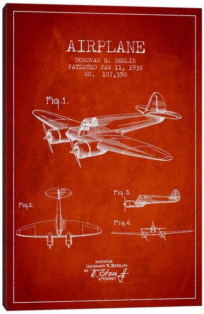Plane Red Patent Blueprint Canvas Print #ADP2353