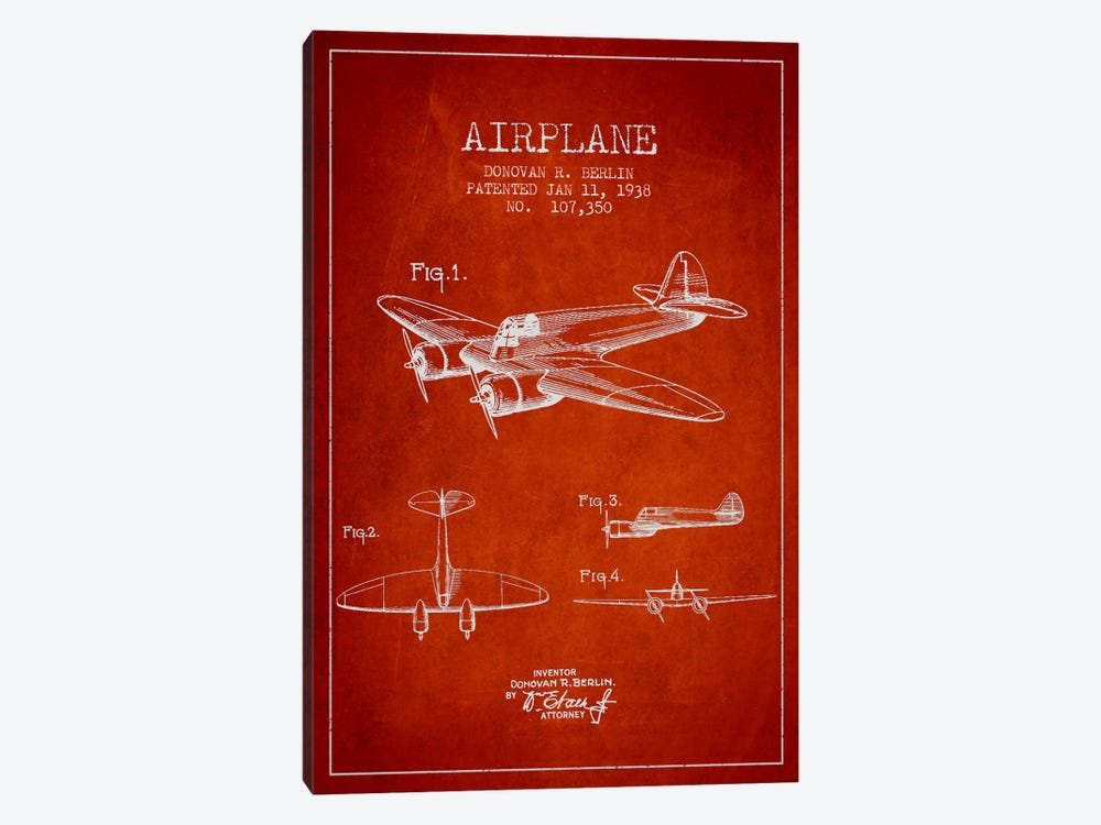 Plane Red Patent Blueprint by Aged Pixel 1-piece Canvas Artwork