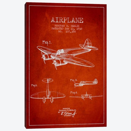 Plane Red Patent Blueprint Canvas Print #ADP2353} by Aged Pixel Canvas Artwork
