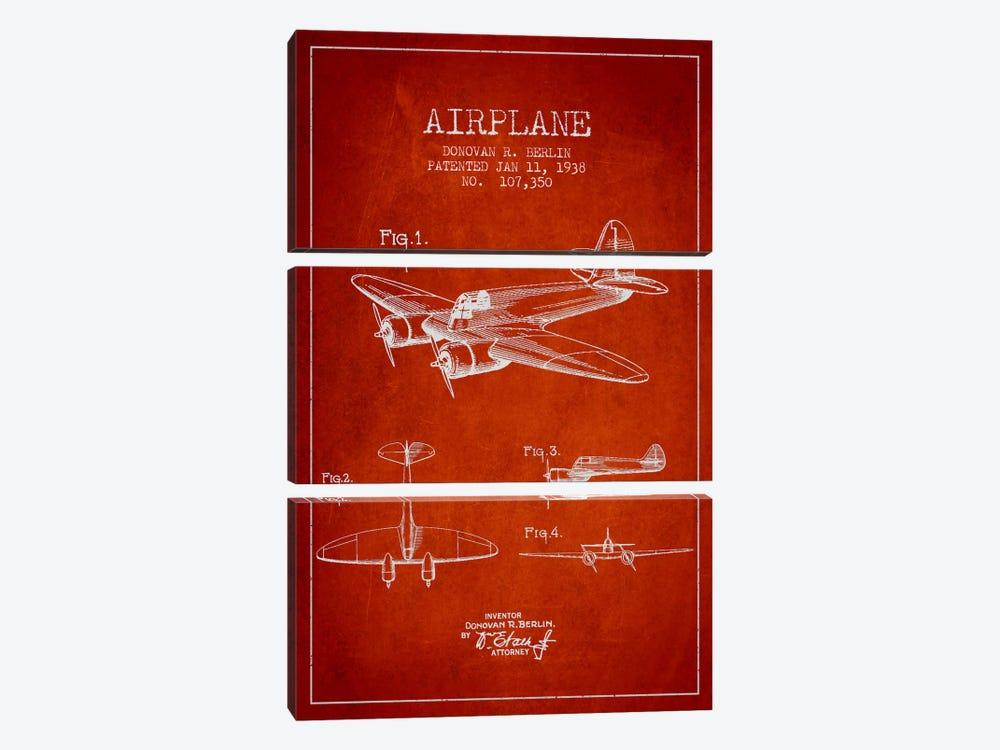 Plane Red Patent Blueprint by Aged Pixel 3-piece Canvas Art