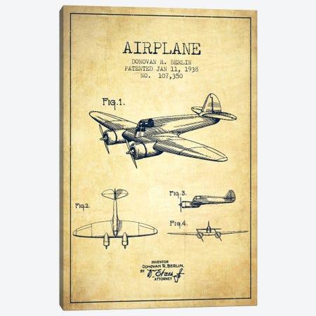 Plane Vintage Patent Blueprint Canvas Print #ADP2354} by Aged Pixel Art Print