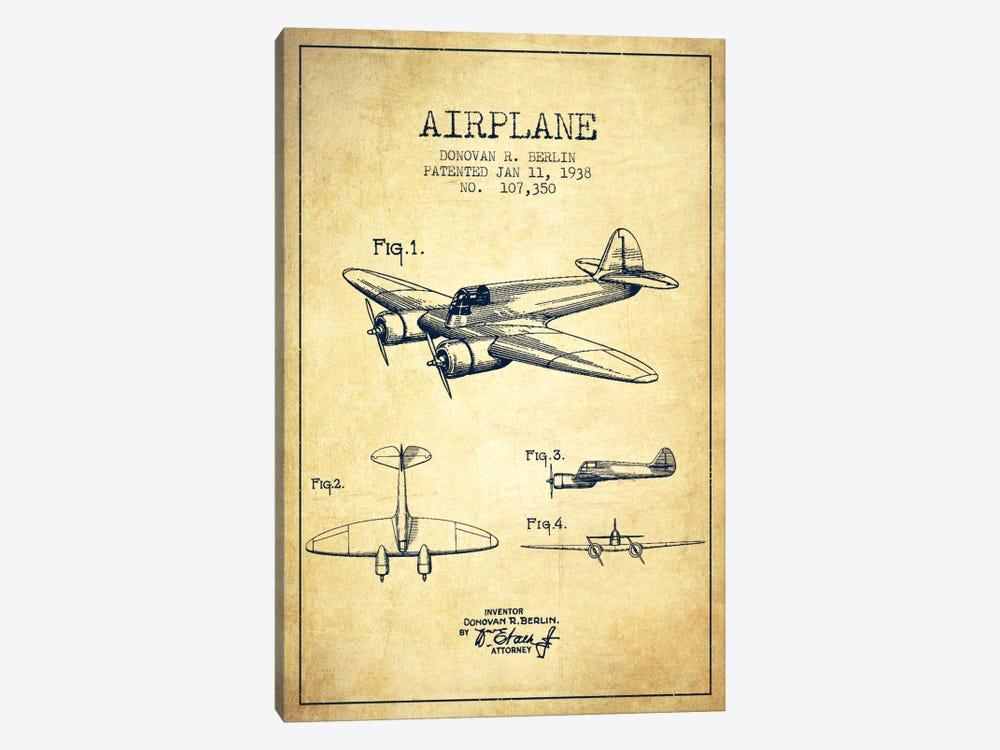 Plane Vintage Patent Blueprint by Aged Pixel 1-piece Canvas Print