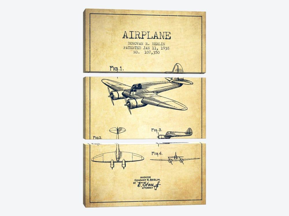 Plane Vintage Patent Blueprint by Aged Pixel 3-piece Canvas Art Print