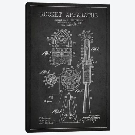 Rocket Apparatus Charcoal Patent Blueprint Canvas Print #ADP2355} by Aged Pixel Canvas Art Print