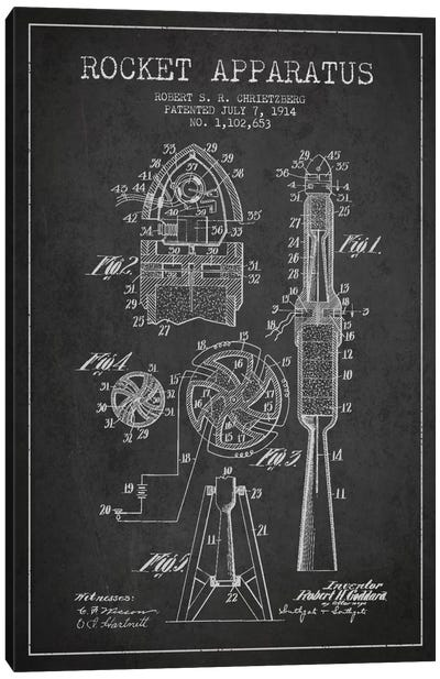 Rocket Apparatus Charcoal Patent Blueprint Canvas Art Print