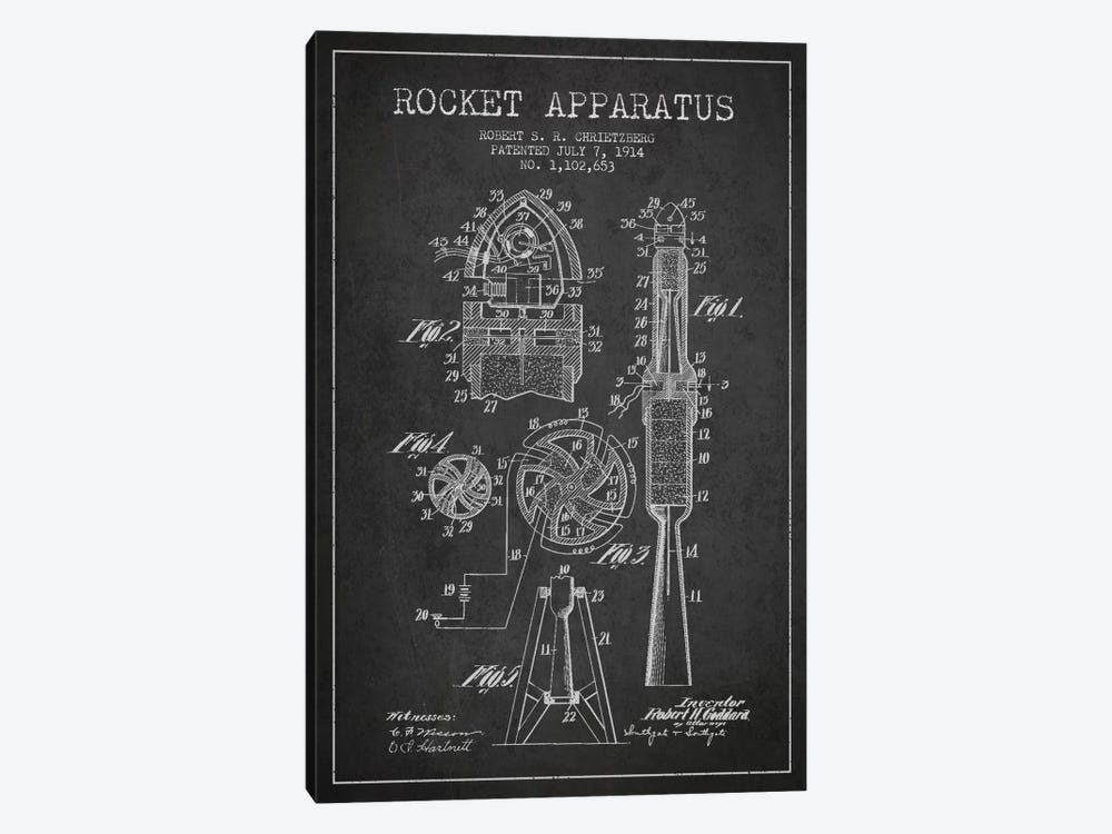 Rocket Apparatus Charcoal Patent Blueprint by Aged Pixel 1-piece Canvas Artwork