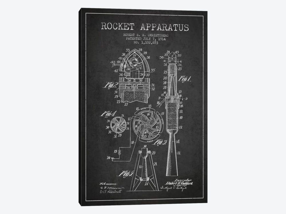 Rocket Apparatus Charcoal Patent Blueprint by Aged Pixel 1-piece Canvas Artwork