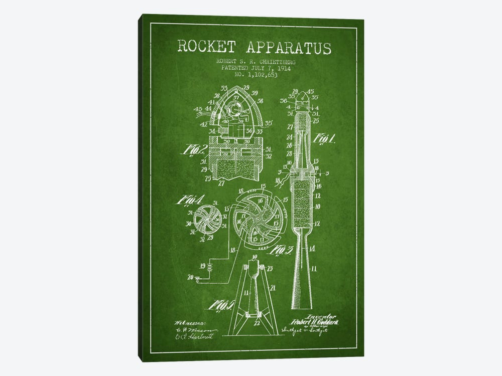 Rocket Apparatus Green Patent Blueprint by Aged Pixel 1-piece Art Print