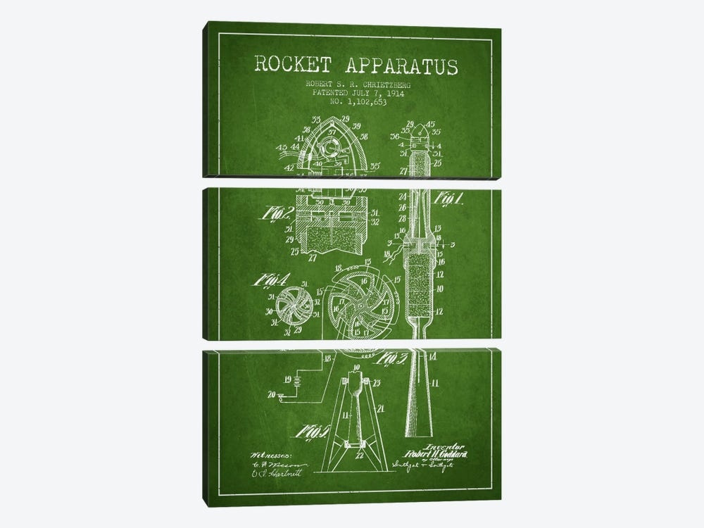 Rocket Apparatus Green Patent Blueprint by Aged Pixel 3-piece Art Print