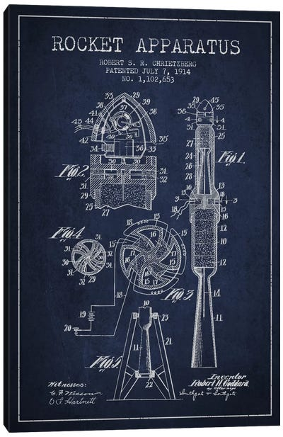 Rocket Apparatus Navy Blue Patent Blueprint Canvas Art Print