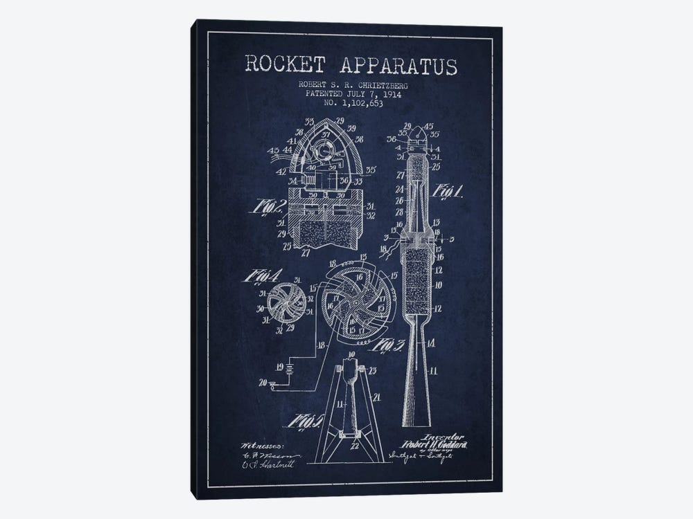 Rocket Apparatus Navy Blue Patent Blueprint by Aged Pixel 1-piece Canvas Art