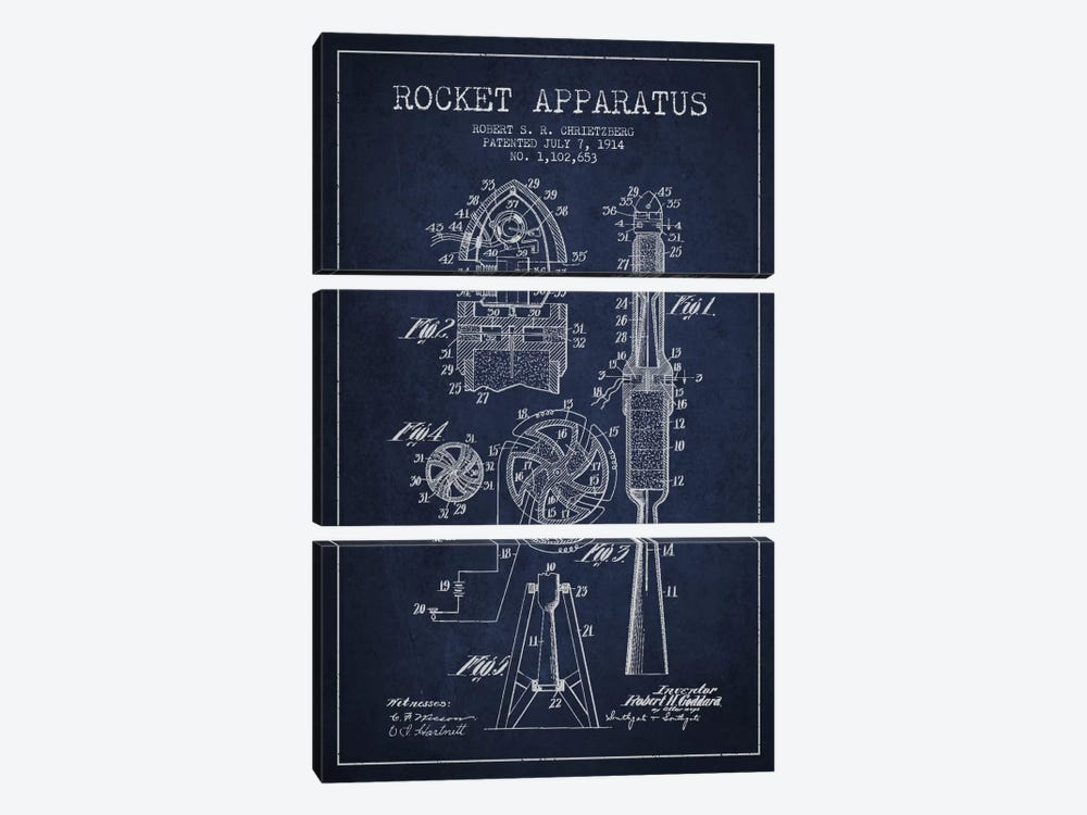 Rocket Apparatus Navy Blue Patent Blueprint by Aged Pixel 3-piece Canvas Wall Art