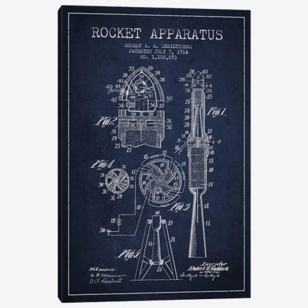 Rocket Apparatus Navy Blue Patent Blueprint Canvas Print #ADP2357} by Aged Pixel Canvas Print