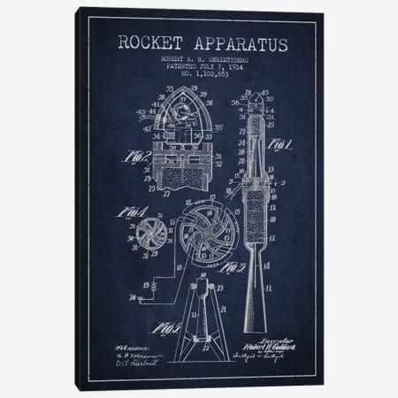 Rocket Apparatus Navy Blue Patent Blueprint Canvas Print #ADP2357} by Aged Pixel Canvas Print