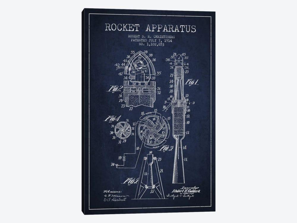 Rocket Apparatus Navy Blue Patent Blueprint by Aged Pixel 1-piece Canvas Art